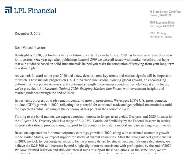 Outlook 2020: Client Letter