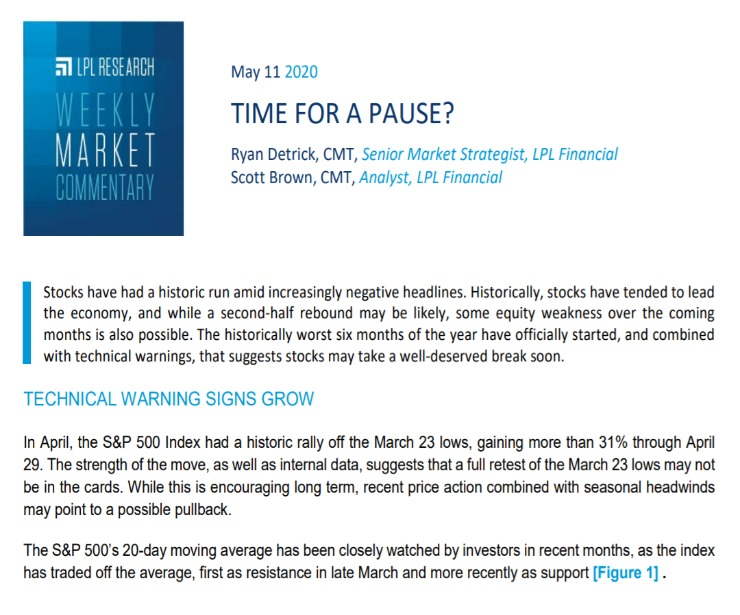 Time For A Pause? | Weekly Market Commentary | May 11, 2020