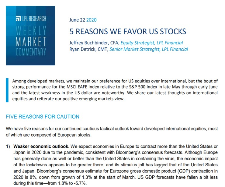 5 Reasons We Favor US Stocks | Weekly Market Commentary | June 22, 2020
